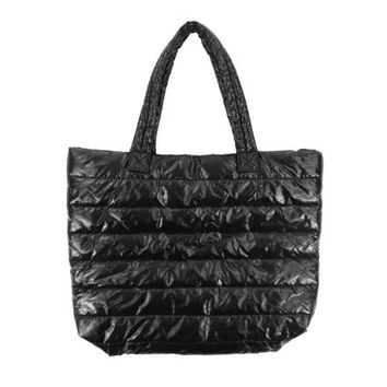Puffy Tote Bag - Black 90s Purse Minimal Handbag Grunge Goth