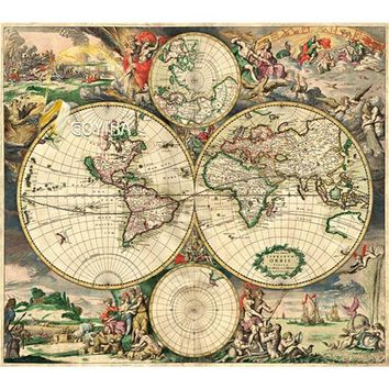 Michelangelo Wooden Jigsaw Puzzles 500 Pieces Map of the World in Year 1689 Educational Toy Decorative Painting Collection Gift