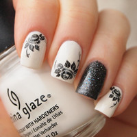 Black roses nail art water decals 20pcs/ Floral nail water transfers/ Black nail water stickers/ art.ble533