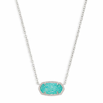 Elisa Silver Pendant Necklace in Teal Drusy | Kendra Scott