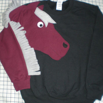 Horse sweatshirt, horse sweater, appliqued horse shirt, horse jumper  Customize to your colors and size