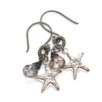 Silver Starfish Earrings Moss Amethyst Oxidized Silver Artisan Everyday Earrings