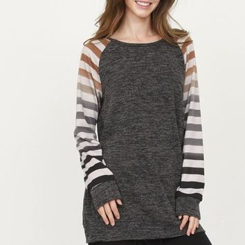 AALIYAH Striped Long Sleeve Ombre Tunic in Charcoal