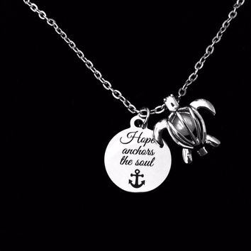 Hope Anchors the Soul Pearl Caged Turtle Silver Necklace Charm Necklace Trendy Inspirational Gift Nautical Jewelry