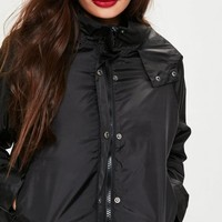 Missguided - Black Cropped Rain Mac Jacket