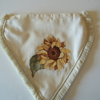 Sunflower Pillow Topper white with fringe attaches with velcro to any pillow