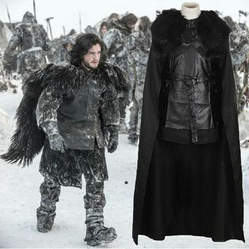ICIKHY9 Game of Thrones Cosplay Costume Jon Snow Outfit A song of ice and fire Halloween Costumes For Men Women top+cloak+belt+skirt