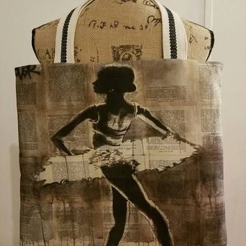 Ballerina - Ballet  - Tutu  - dancer - dance -  pointe - vintage - rockabilly  - Retro -  canvas - lined - bag - purse - tote