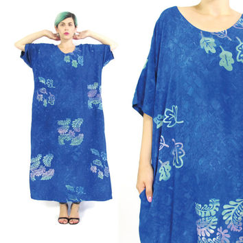Vintage Blue Batik Dress Caftan Maxi Dress Hippie Boho Festival Kaftan Muu Muu Beach Dress Summer Slouchy Tie Dye Short Sleeve Dress (L/XL)