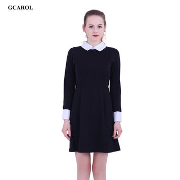 Women Victoria Beckham Dresses Preppy Style Elegant Peter Pan Collar Ladies' Vintage Streetwear Plus Size XL Dress For 4 Season