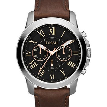 Fossil Mens Chronograph Grant Brown Leather Strap Watch 44mm FS4813
