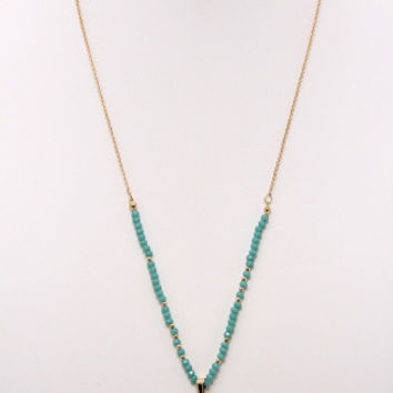 TURQUOISE AND GOLD BEEDED NECKLACE WITH STONE