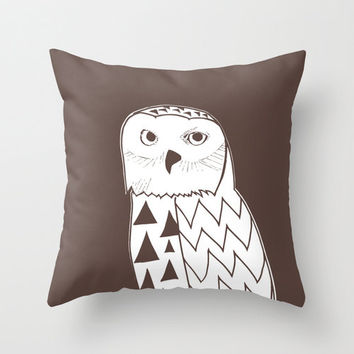 Snowy Owl Pillow Cover, brown pillow, man pillow, rustic pillow, animal pillow, owl decor, bird pillow, 18x18 pillow, choose 30 colors