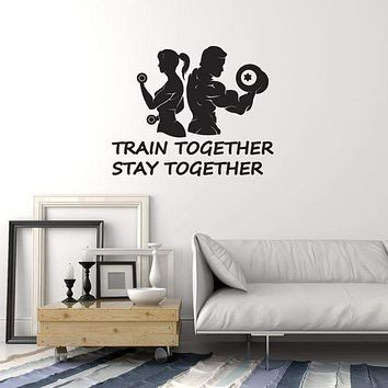 Vinyl Wall Decal Home Gym Couple Fitness Bodybuilding Sports Quote Art Stickers Mural (ig5574)