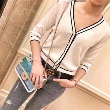 """Chanel"" Women Fashion Casual Multicolor Stripe Long Sleeve Cardigan V-Neck Knitwear Sweater Coat"