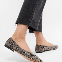 ASOS DESIGN Latch Pointed Ballet Flats in snake at asos.com