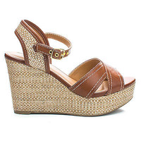 Kimball Tan Pu By City Classified, Open Toe Sling back Woven Platform Wedge Heels
