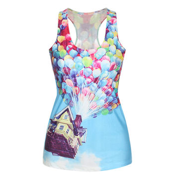 Women Summer T Shirt Pixar Balloon  House Fly Digital Print Vests Cartoon Vest Creative Camisole Sexy Fashion Punk Tank Tops