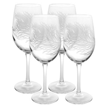 Rolf Glass Peacock Feather All Purpose 18 oz. Wine Glasses (Set of 4)