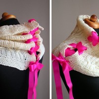 Creamy Drawstring Cowl with Pink Ribbon by BVLifeStyle on Etsy