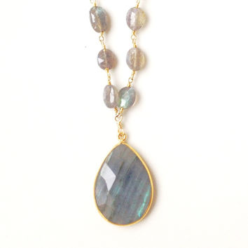 Abria Long Labradorite Beaded Necklace