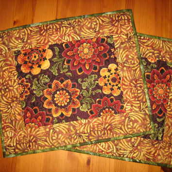 Quilted Placemats Paisley Gold and Red Medallions on Burgundy
