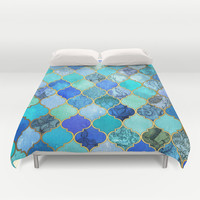 Cobalt Blue, Aqua & Gold Decorative Moroccan Tile Pattern Duvet Cover by micklyn