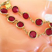 Red Crystal Bracelet / Austrian Swarovski Crystal Rhinestones / Bangle Gold Links USA / Vintage / Jewelry / Gift