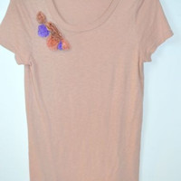 J Crew Size Small Pink Top Scoop Neck Tee with Flowers Lightweight Cotton