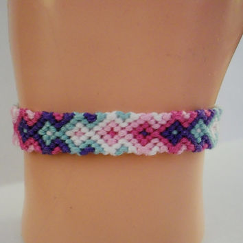 Spring Colored Arrowhead Pattern Embroidery Macrame Friendship Bracelet, Spring Arrow Friendship Bracelet