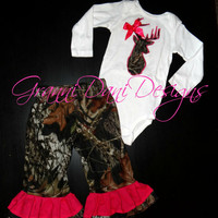 camo buck with bow shirt mossy oak matching pants baby girl 0 3 6 9 12 18 24 months 2t 3t 4t 5t