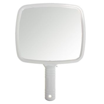 White Professional Square Makeup Mirror Handheld Salon Barber Hairdressers Tool