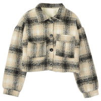 Multicolor Plaid Button Up Short Woolen Coat - Choies.com