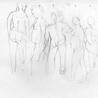Five Positions - Original Life Drawing - Fine Art - Nude Sketch - ElizabethAFox