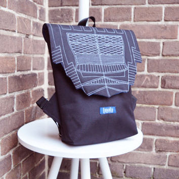 Backpack black hipster backpack rucksack cycling bag everyday small mini backpack Zurichtoren geometric simple minimalist backpack bag