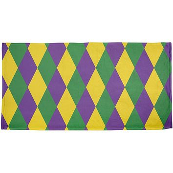 Mardi Gras Jester Costume All Over Beach Towel