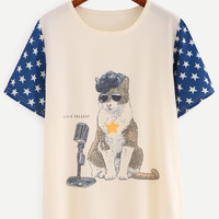 Contrast Star Sleeve Cat Print T-shirt - Beige