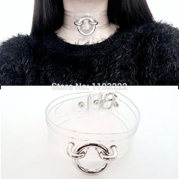 Plain Punk Rock Kawaii Handmade O Round Double Layered Clear Transparent Vinyl Leather Choker Collar Chain Necklace