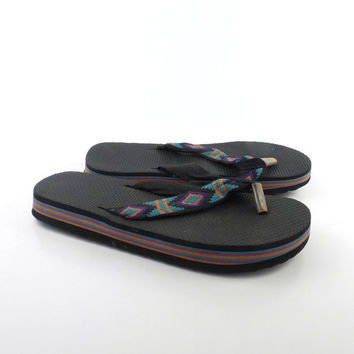 1980s Flip Flops Vintage Sandals Rainbow Thick Foam Stripe