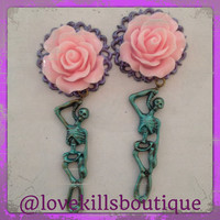 PICK SIZE  Pastel Goth  Pink Rose  teal skeleton Custom Plug earrings Rockabilly psychobilly pinup jewelry plugs