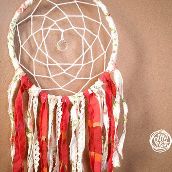 Dream Catcher - Red Flowers - With Unique Floral Textiles and Crystal Prism - Boho Home Decor, Nursery Mobile