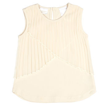 Kardashian Kids Baby Tank Top with Pleated Overlay - White -
