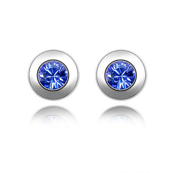 11 Colours Made with Austria Elements Gold Plated crystal Stud earrings for women New Sale Hot #82336