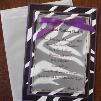 25 Zebra and Purple Birthday Invitations - 15th, 16th, 18th, 21st, 30th, 40th,  - any occassion