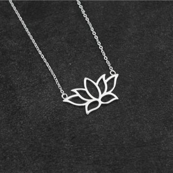 925 Sterling Silver Buddhist Elements Lotus Flower Necklaces & Pendants For Women Elegant Lady Sterling-silver-jewelry