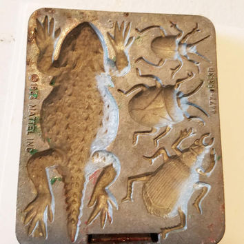 lizard beetles insect mold metal vintage mold 1964 Mattel creepy crawler mold bug push mold animal insects polymer clay craft molds