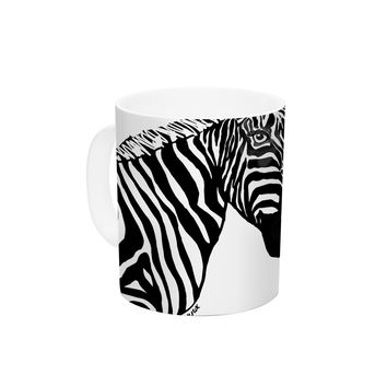 "Geordanna Cordero-Fields ""My Zebra Head"" Black White Ceramic Coffee Mug"