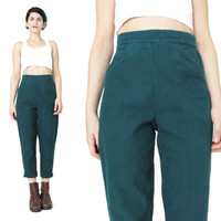 90s Dark Green Pants High Waisted Pants Hunter Forest Green Pants Petites High WaistJeans Tapered Leg Trousers Grunge Cropped Pants (S/M)