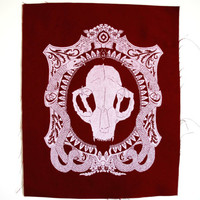 Cat Skull Cameo Sew On Back Patch in Cranberry Limited Edition
