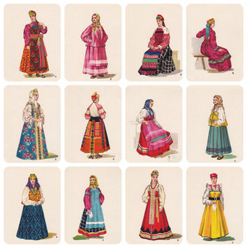 Russian Folk Costume, Dress (Part I). Drawings by V. Sorokin. Set of 12 Vintage Postcards -- 1957
